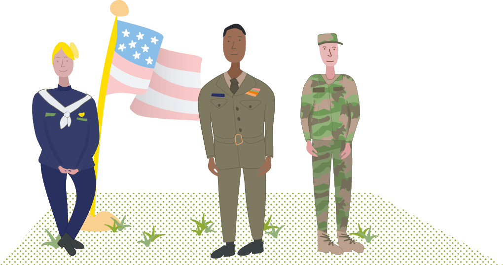 illustration of three veterans with the American flag - Prime TMS of Kansas